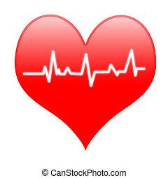 corazón, electro, medios, golpe, latido del corazón, apasionado, o, amoroso