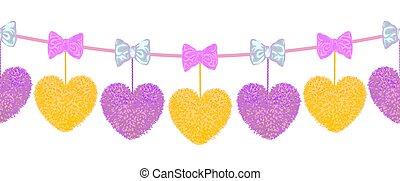 corazón, elementos, pom-poms, forma, arcos, decortive