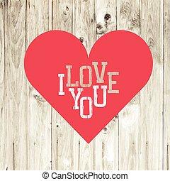 Corazón en fondo de madera. Vector.