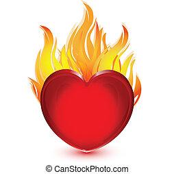 Corazón en llamas logo de ilustración