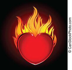 Corazón en llamas, logo negro