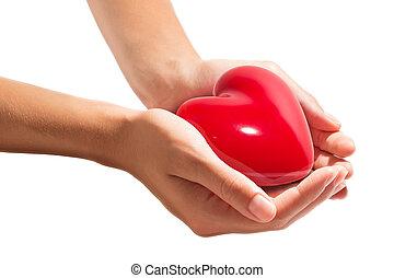 Corazón en manos, aislado en blanco