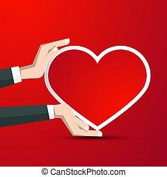 Corazón en manos humanas en el fondo rojo - ilustración vectorial