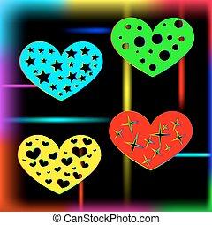 Corazón en un agujero, estrella, círculo y corazón.