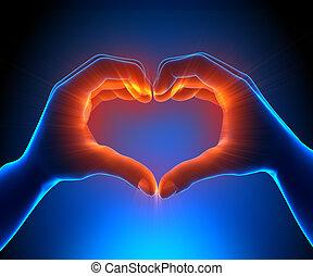 corazón, encendido, manos
