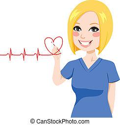 corazón, enfermera, dibujo