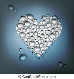corazón, eps10, formado, resumen, valentines, agua, drops., plano de fondo, vector, día
