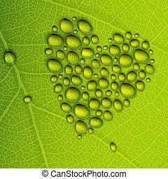 corazón, eps10, ilustración, leaf., rocío, forma, vector, verde, gotas