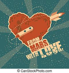 corazón, espacio, vendimia, saludo, forma, marte, tarjeta