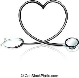 corazón, estetoscopio, concepto