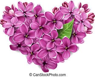 corazón, flores, lila