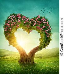 corazón formó, árbol