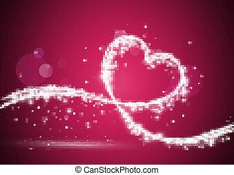 Corazón formado con luces brillantes