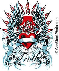 corazón, gótico, ala
