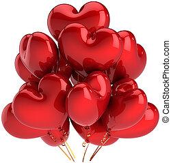 corazón, globos, amor, rojo, formado