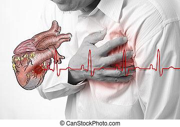 corazón, golpes, ataque, plano de fondo, cardiograma