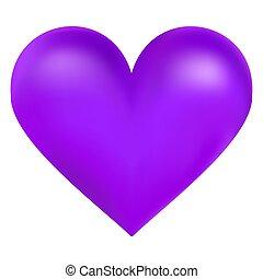Corazón grande color violeta, ilustración vectorial