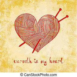 corazón, grunge, tejido de punto, plano de fondo, aguja