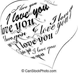 """corazón, hecho, amor, """"i, you"""", negro, frase"""
