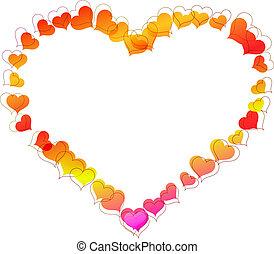 corazón, hecho, formado, marco, shapes., pequeño