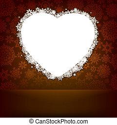 corazón, hecho, snowflakes., eps, 8, blanco