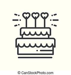 corazón, illustration., pastel, dessert., símbolo., señal, pastel, vector, birthday., boda, topper, línea, feliz, icon., congratulation.