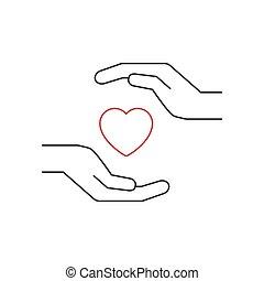 corazón, ilustración, rojo, vector, entre, manos, dos