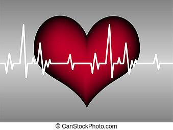 corazón, línea, cardiograma