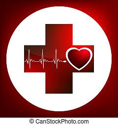 corazón, latido del corazón, símbolo., fácil, ed