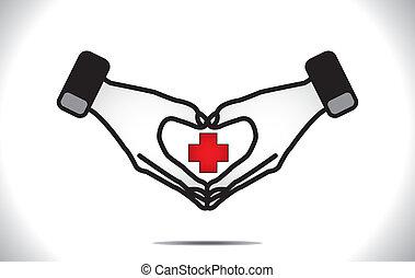 corazón, médico, protección, más, cuidado