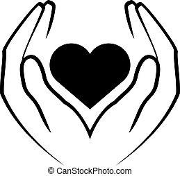 corazón, manos de valor en cartera
