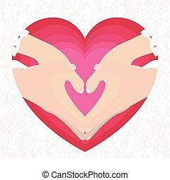 corazón, manos, pareja