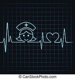 corazón, marca, latido del corazón, enfermera, cara