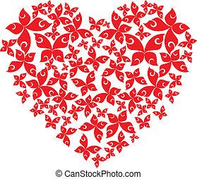 corazón, mariposas, vuelo