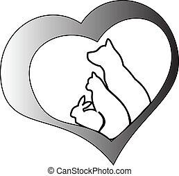 corazón, mascotas