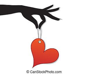 corazón, mujer, asimiento, amor, rojo