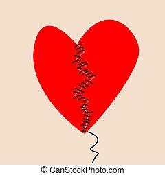 corazón, negro, mitades, hilo, fijación, dos, roto, sewed, concepto
