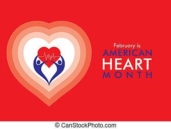 corazón, norteamericano, febrero, mes
