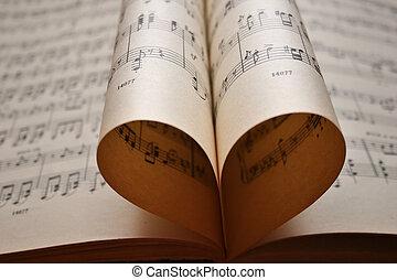 corazón, notas, música