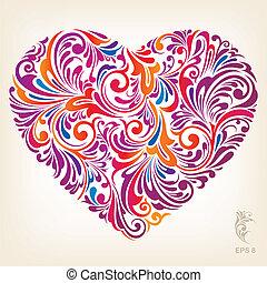 corazón, ornamental, coloreado, patrón