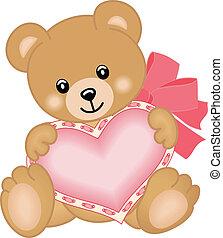 corazón, oso, lindo, teddy