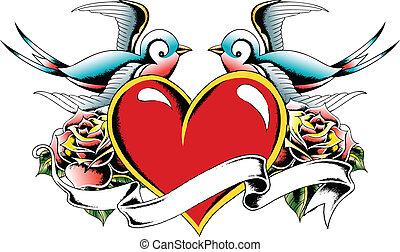 corazón, pájaro, tatuaje