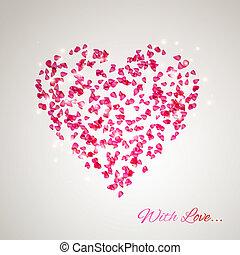 corazón, pétalos, rosa, apacible