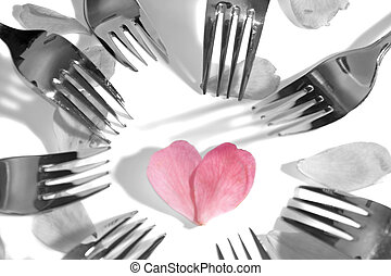 corazón, pétalos, rosa, oscuridad, circundante, forma, tenedores