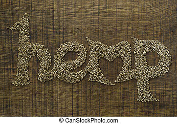 corazón, palabra, artísticamente, de madera, word., escrito, forma, semillas, cortar, cáñamo, tabla, integrado