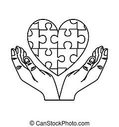 corazón, pedazos, humano, rompecabezas, juego, manos