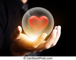 corazón, pelota, cristal, rojo