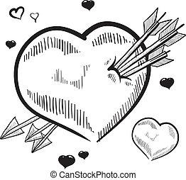 Corazón perforado por un dibujo de flechas