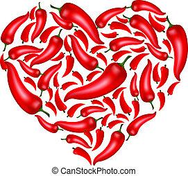 corazón, pimienta chili