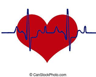 corazón, plano de fondo, latido del corazón
